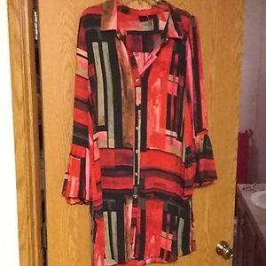 Beautiful print long ruffled sleeve dress